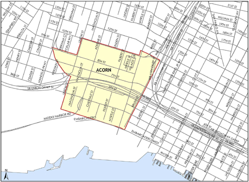 Map of Acorn Redevelopment Project Area