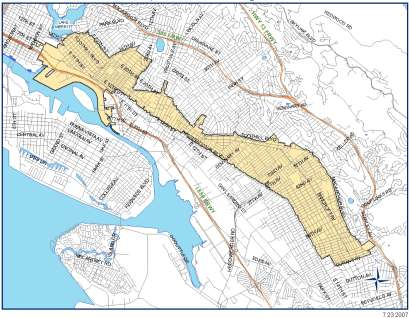 Map of Central City East Redevelopment Project Area