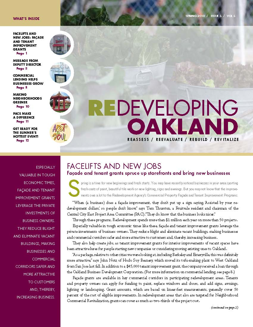 Cover image of Redeveloping Oakland newsletter spring 2010