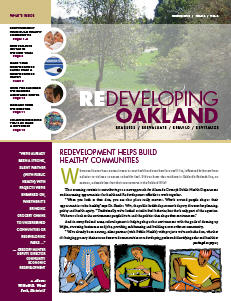 Cover image of Redeveloping Oakland newsletter Winter 2010