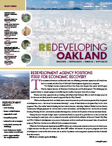 Cover image of Redeveloping Oakland newsletter Spring 2009