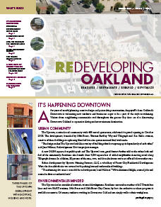 Cover image of Redeveloping Oakland newsletter Winter 2009