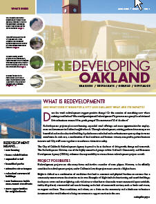Cover image of Redeveloping Oakland newsletter Summer 2008