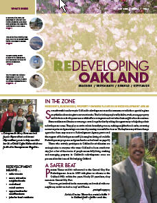 Cover image of Redeveloping Oakland newsletter Spring 2008