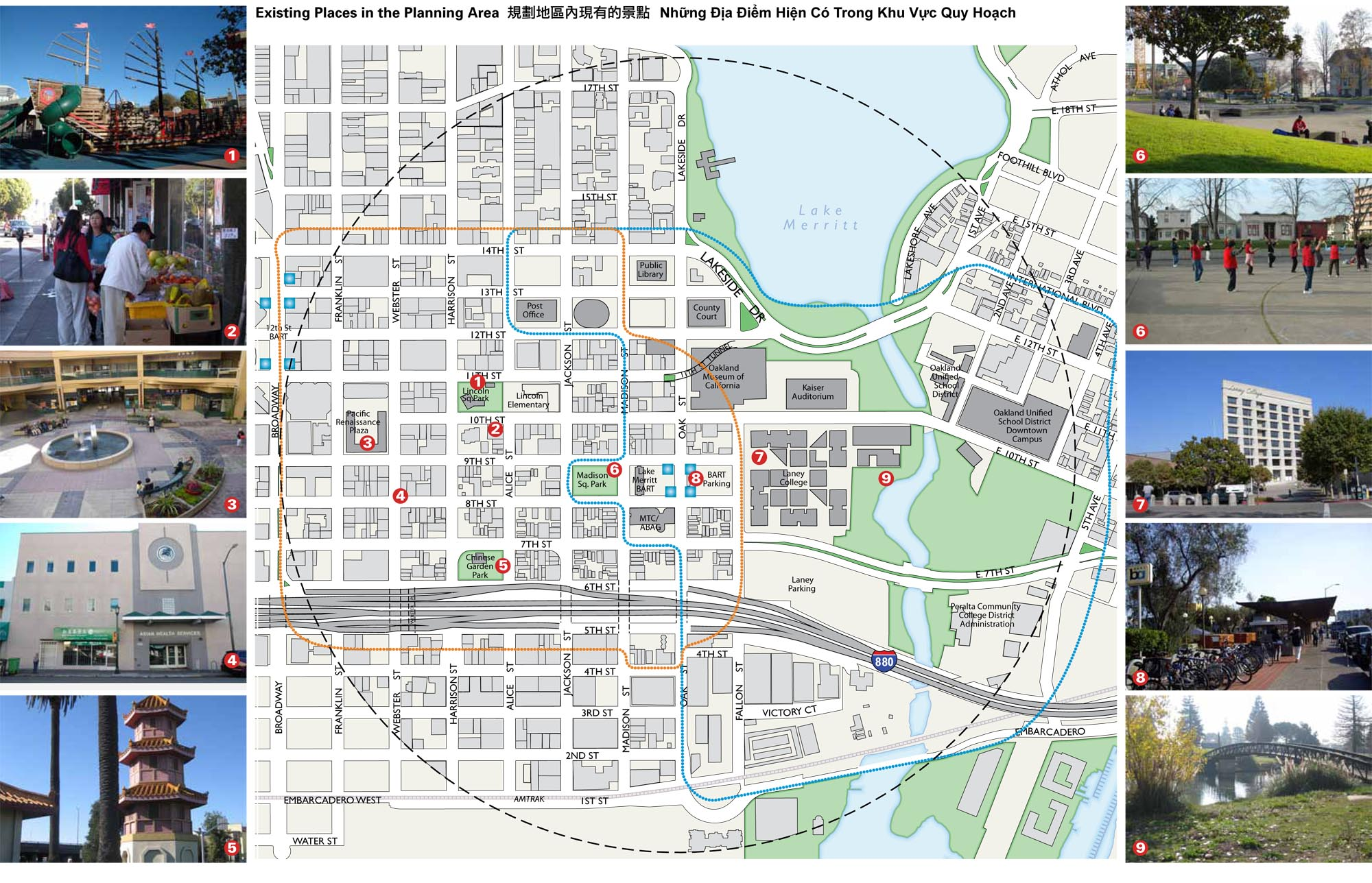 Map illustrating area covered by Lake Merritt Station Area Plan