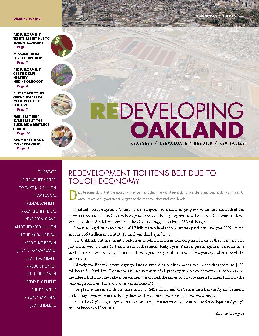 Cover image of Redeveloping Oakland newsletter Summer 2010