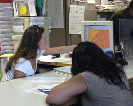 Photo of customer assistance at the Planning and Zoning Permit Counter