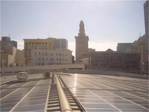 Photo of the solar panels on the downtown ice rink