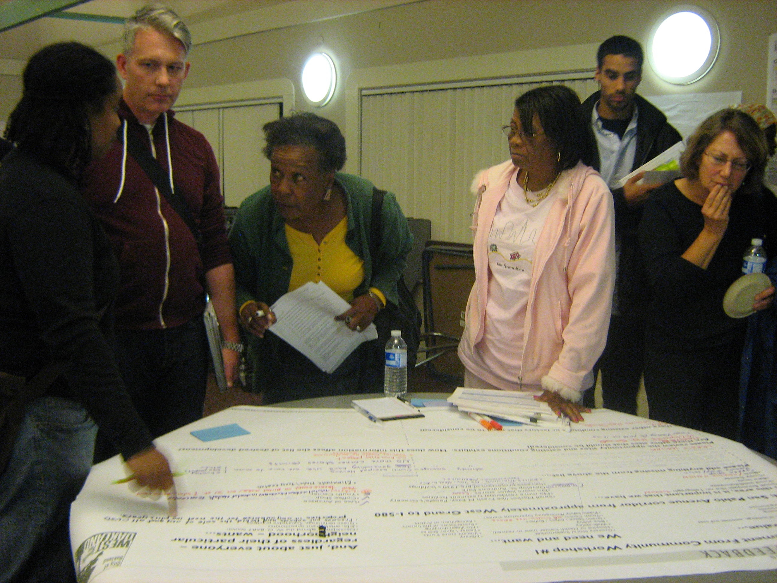 Workshop participants contribute comments on the plan