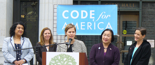 Photo of City Adminstrator Deanna J. Santana, Karen Boyd, Code for America Executive Director Jennifer Pahlka, Mayor Jean Quan and City Councilmember Libby Schaaf at Code for America Press Conference on February 5, 2013