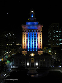 Oakland City Hall Awash in Blue & Gold as Warriors Advance to Game 5 of Semifinals