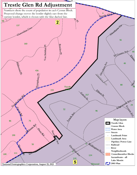 This Map Proposes Moving Both Sides Of Trestle Glen Road Into Council District 2 Instead Of The Current Boundary Between Cd 2 And 5 Which Goes Down The