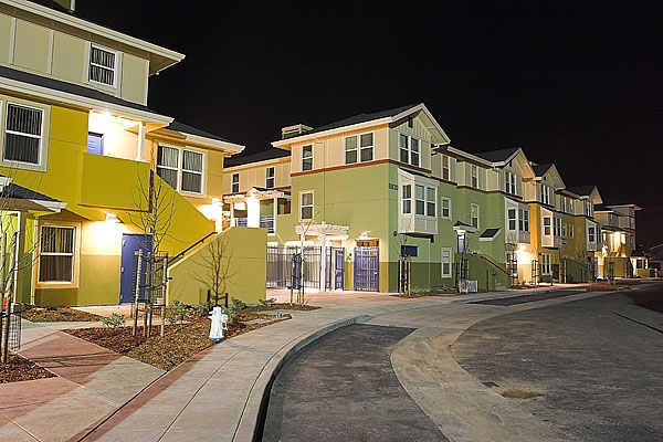 Photo of Lions Creek Crossing Housing Develpment Project at Night