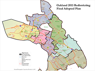 Image of the 2013 Council District Boundary Map Adopted by Oakland City Council on December 10, 2013