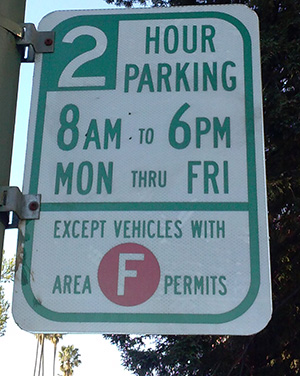 photo of parking sign showing residential parking permit zone