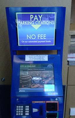 photo of payment kiosk for parking tickets located at 250 Frank H. Ogawa Plaza