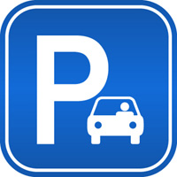 Sign with the International symbol for car parking
