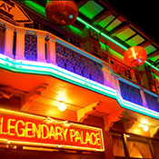 photo of colorful neon lights on the Legendary Palace in Chinatown