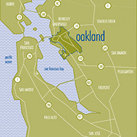 photo of map showing Oakland's central location in the Bay Area