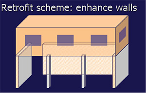 drawing showing retrofit of soft story building by enhancing walls
