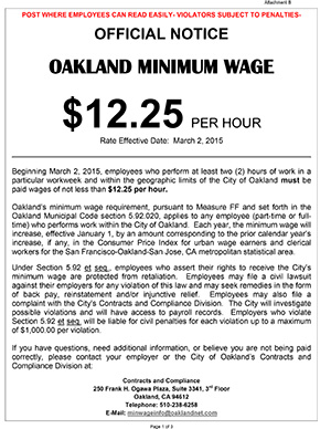 Image of the City of Oakland Minimum Wage Notice Poster