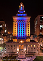 Oakland City Hall Awash in Blue & Gold as Warriors Advance to Conference Finals