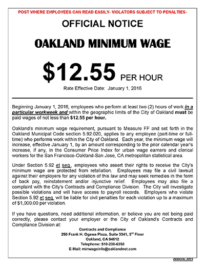 image of notification on minimum wage increase effective January 1, 2016