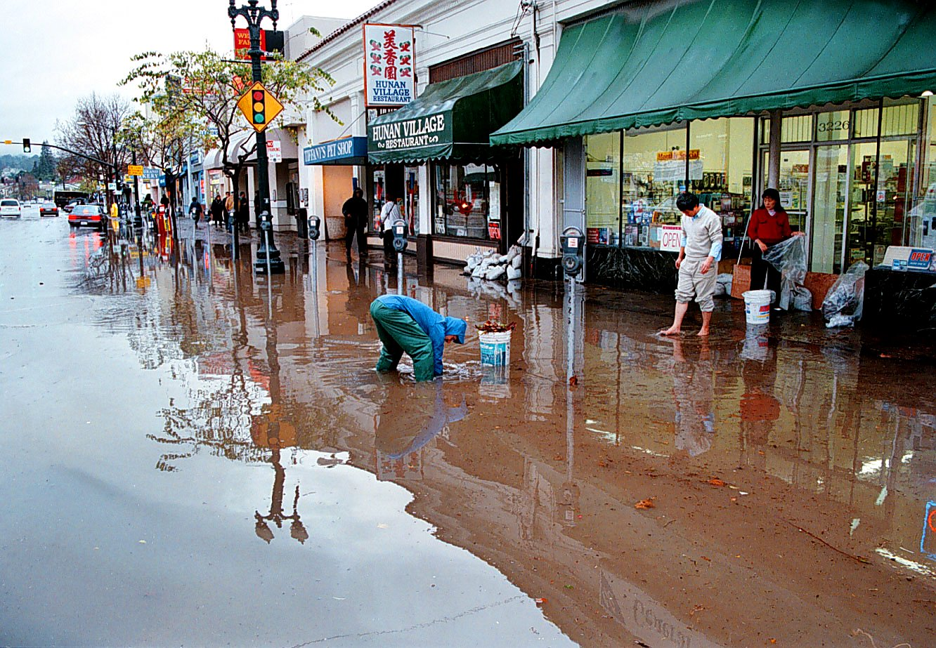 Historic image from 1997-98 El Nino - Grand Avenue flooded