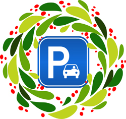 Parking icon with Holiday wreath