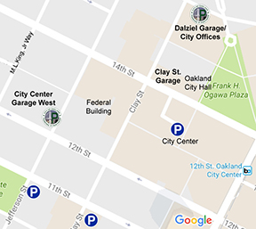 Map showing parking options near Oakland City Hall