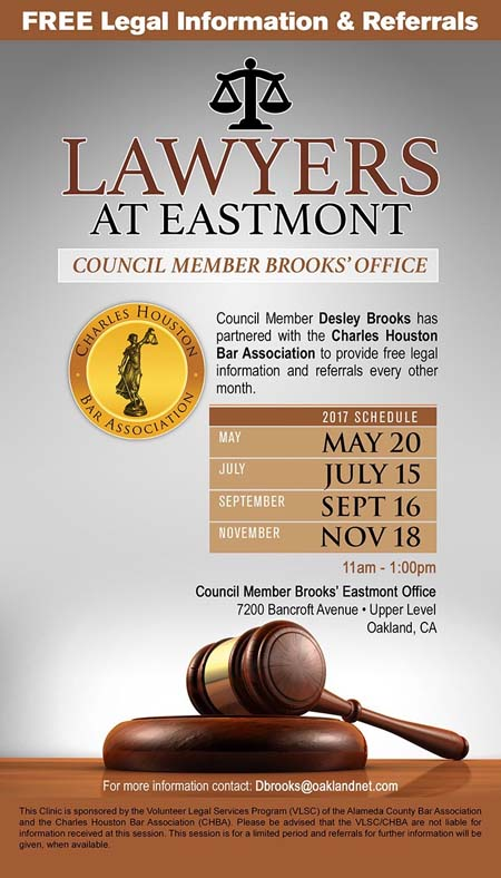 Flyer Free Legal Information Councilmember District 6