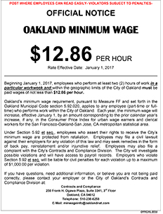Photo of Minimum Wage Poster with the January 1, 2017 increase