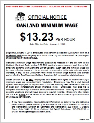 Photo of Minimum Wage Poster with the January 1, 2018 increase