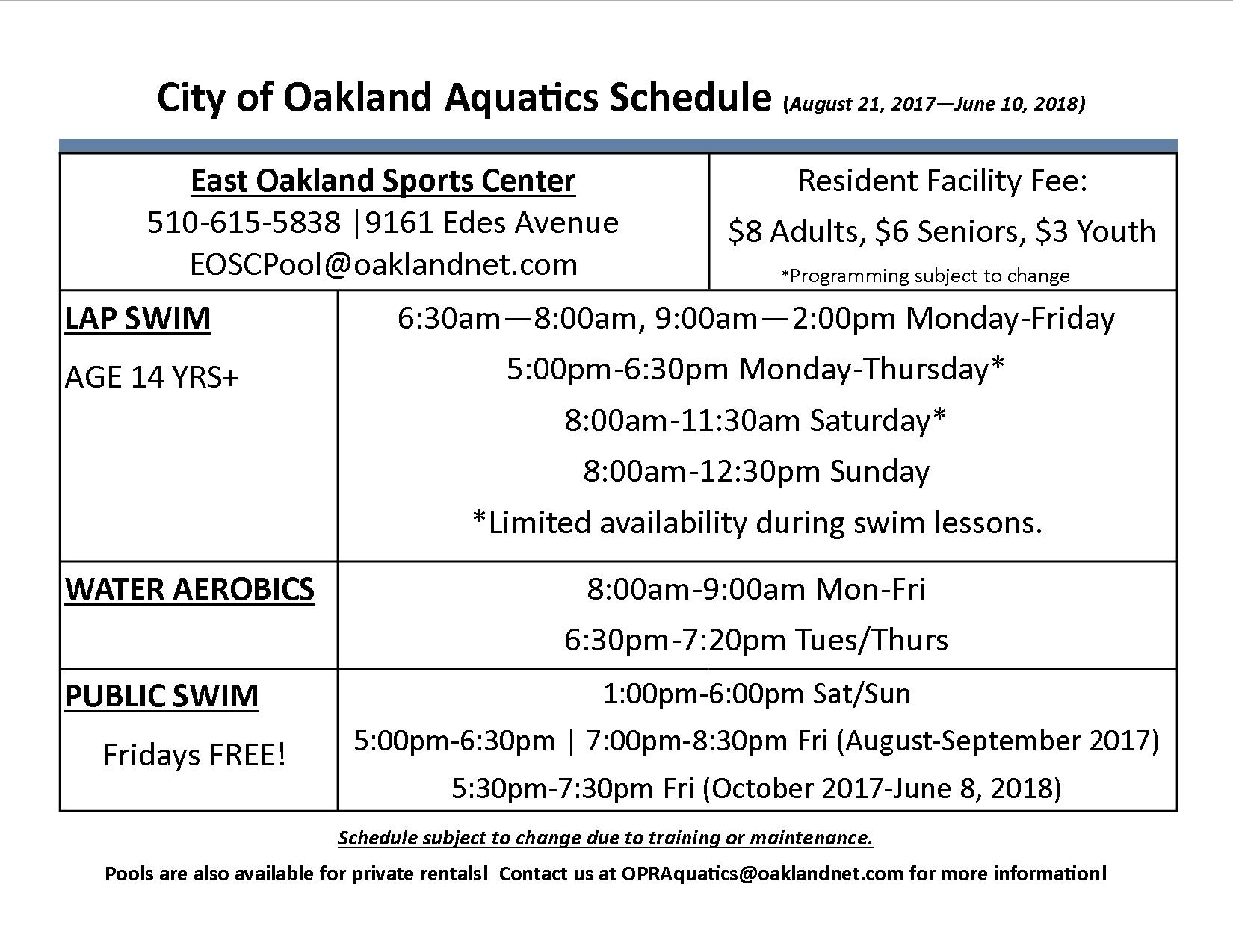 Aquatics city of oakland california eosc schedule2 1betcityfo Image collections