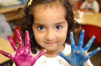 Photo of a child painting