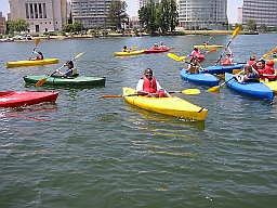 Photo of a group of youth kayakers