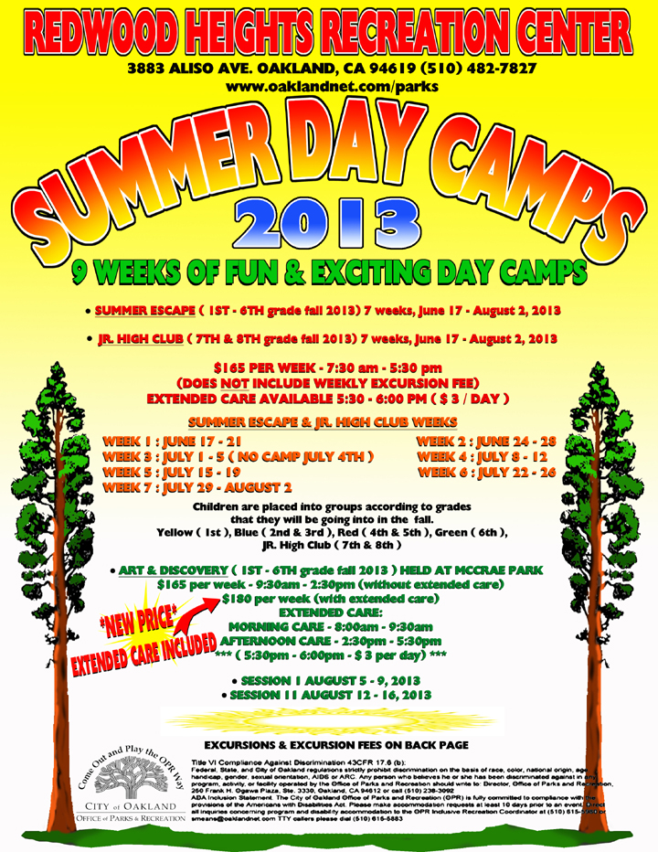 Redwood Heights Recreation Center Summer Day Camp Flyer 2013