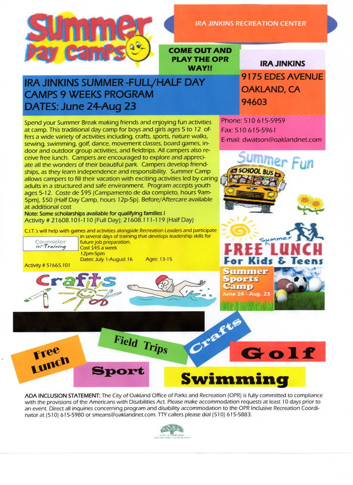 Ira Jinkins Summer Camp flyer