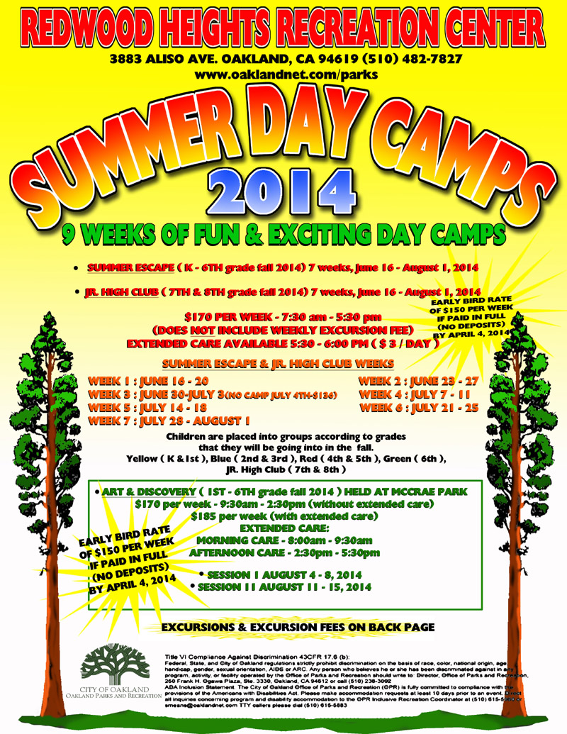 Redwood Heights Recreation Center Summer Day Camp Flyer 2014