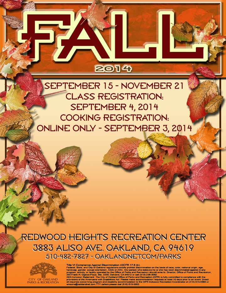 Redwood Heights Recreation Center Fall Class booklet 2014