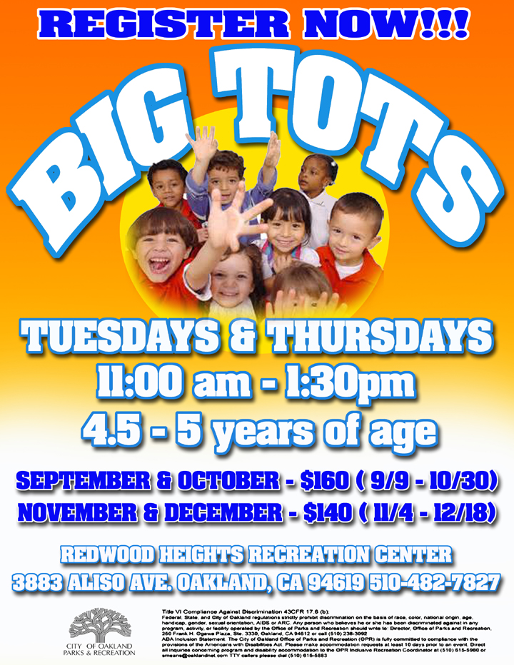 Redwood Heights Recreation Center Big Tots Fall 2014