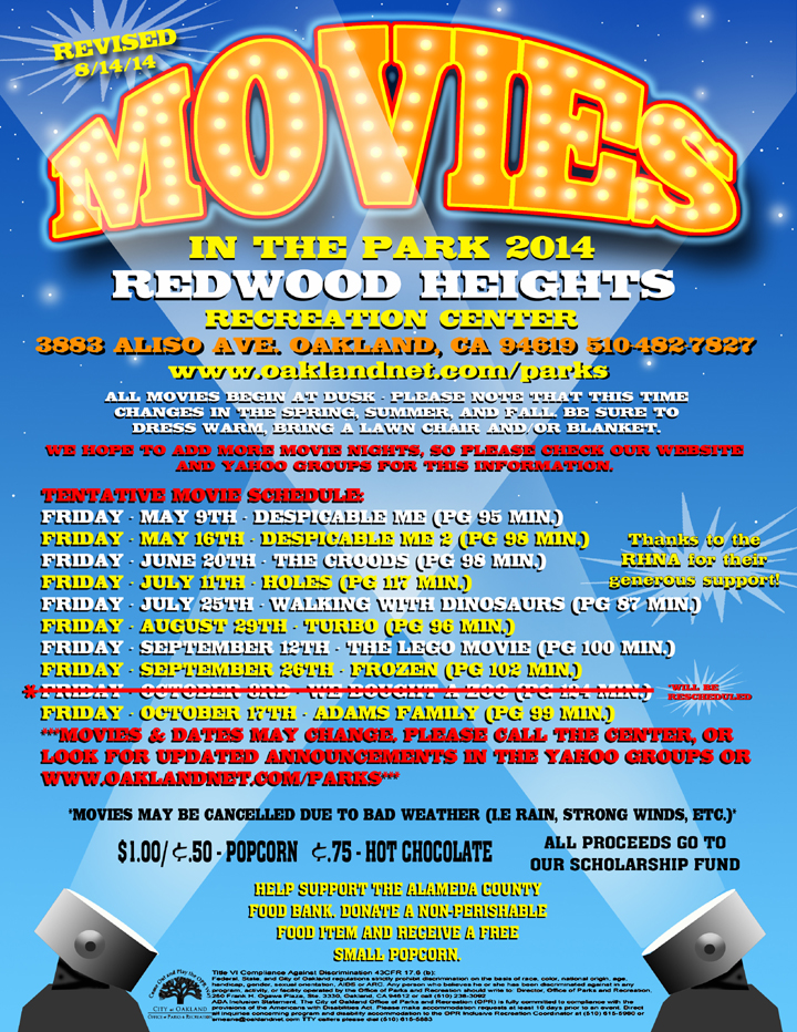 Movies in the Park  2014 at Redwood Heights Recreation Center revised 8/14/14