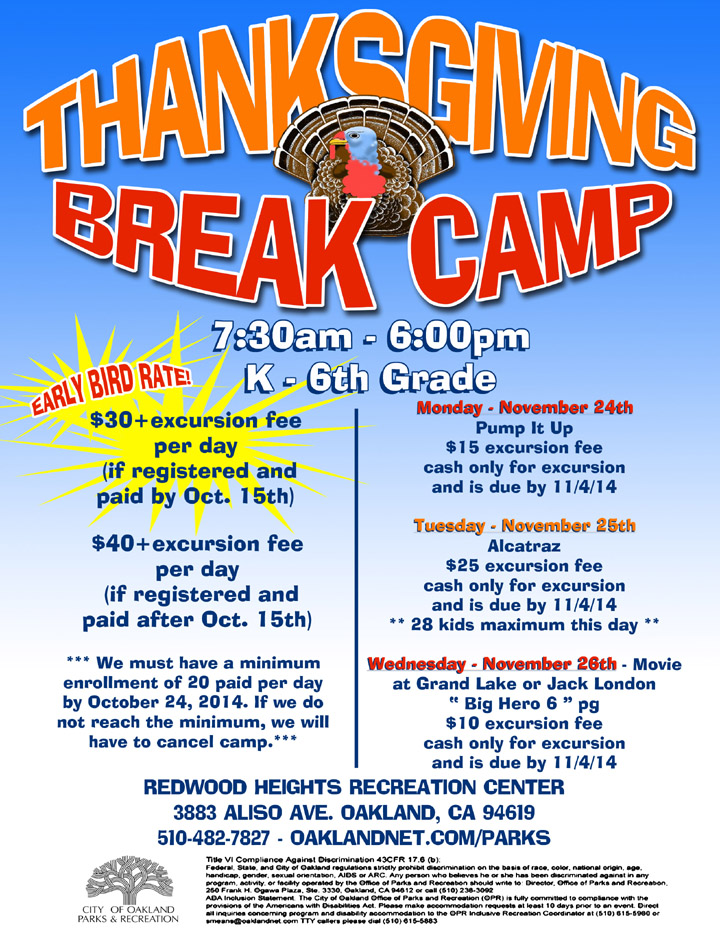 Thanksgiving Break Day Camp @ Redwood Heights Recreation Center - 2014