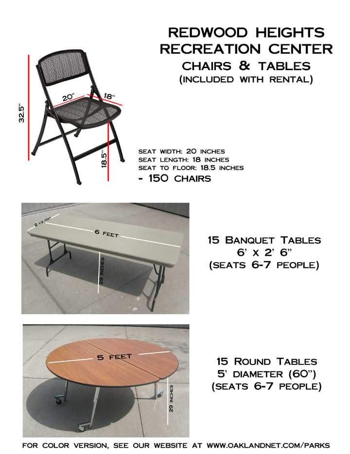 Pictures of Tables and chairs for rentals