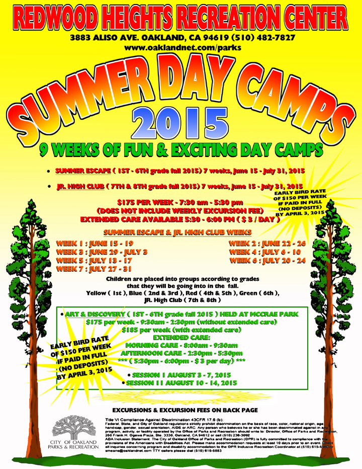 Redwood Heights Recreation Center Summer Day Camp Flyer 2015