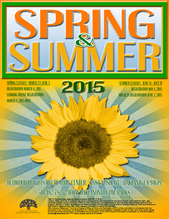 Redwood Heights Recreation Center Spring & Summer Class booklet 2015