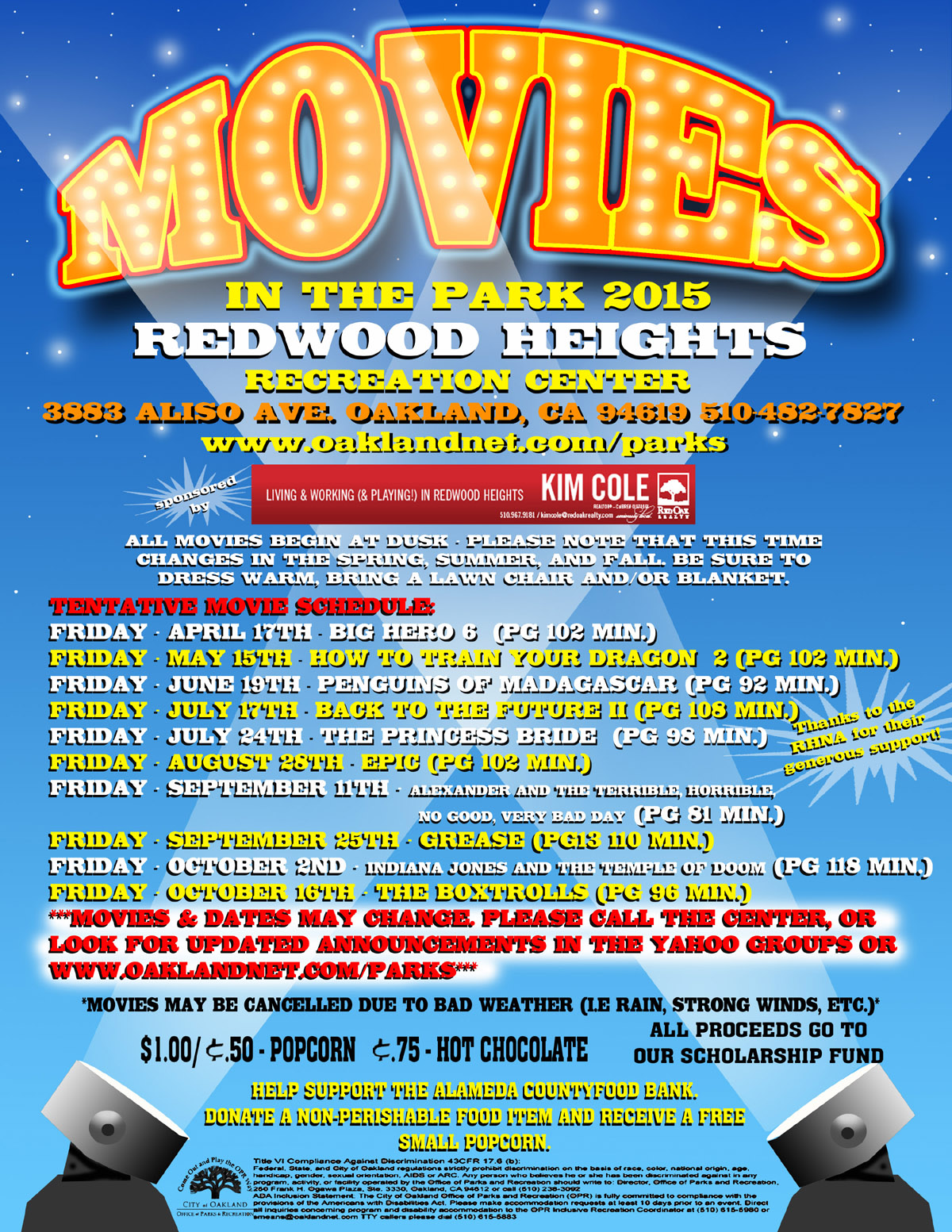 Movies in the Park  2015 at Redwood Heights Recreation Center