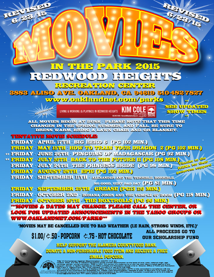 Movies in the Park  2015 at Redwood Heights Recreation Center revised 6/23/15