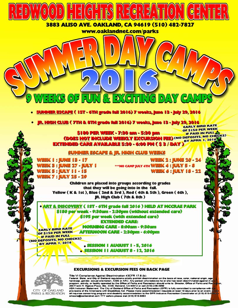 Redwood Heights Recreation Center Summer Day Camp Flyer 2016