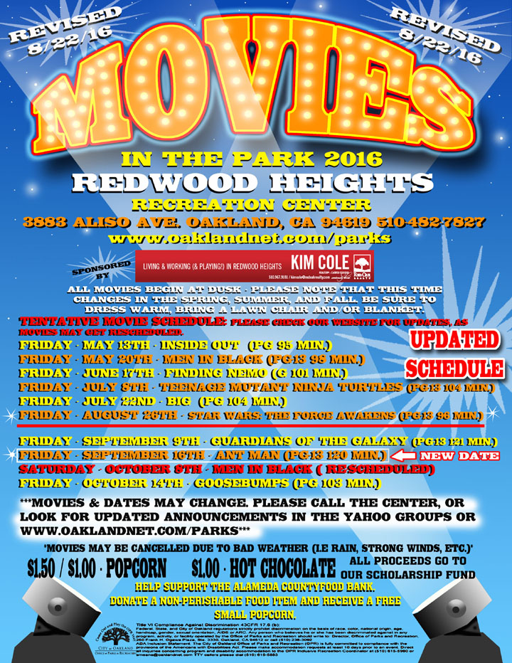 Movies in the Park  2016 at Redwood Heights Recreation Center updated August 22, 2016.